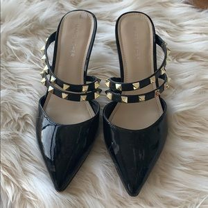 MARC FISHER BLACK STUDDED MULES